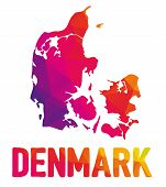 Low Polygonal Map Of Kingdom Of Denmark With Sign Denmark, Both In Warm Colors Of Red, Purple, Orang poster