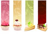 Set of different food banners