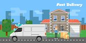 White Truck And Delivery Boy With Cardboard Boxes Near House On Background Of Urban Landscape. Fast  poster