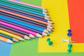 Color Pencils On Colorful Background. Beautiful Color Pencils. Color Pencils For Drawing. Back To Sc poster