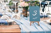 Wedding Or Another Catered Event Table Setting, Flowers, White Plates, Blue Napkins, Event Decoratio poster