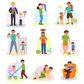 Father And Child Vector Dad And Kids Daughter Or Son Playing Together Or Workout Illustration Of Fat poster