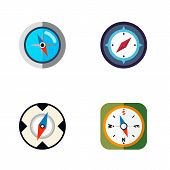 Icon Flat Orientation Set Of Geography, Instrument, Direction And Other  Objects. Also Includes Orie poster