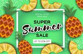 Pineappple. Top View. Ananas Super Summer Sale Banner In Paper Cut Style. Origami Juicy Ripe Slices. poster