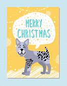 Merry Christmas Poster With Sign In Cloud And Bullterrier With Nice Facial Expression. Pedigree Dome poster