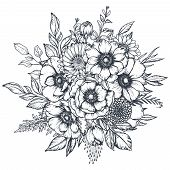Vector Black And White Floral Composition, Bouquet Of Hand Drawn Anemone Flowers, Buds And Leaves In poster