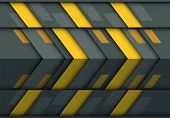 Abstract Yellow Gray Arrow 3d Pattern Design Modern Futuristic Technology Background Texture Vector  poster