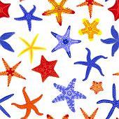 Sea Stars Seamless Pattern. Marine And Nautical Backgrounds With Starfishes. Starfish Underwater Inv poster