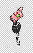 Car Keys With Red And Green Buttons From Glamorous Pink Cabriolet Isolated On Transparent Background poster