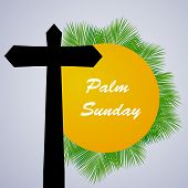 Illustration Of Cross And Palm Leaves With Palm Sunday Text On The Occasion Of Christian Moveable Fe poster