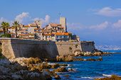 Seascape of Antibes in Provence France - travel and architecture background poster