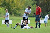 KAPOSVAR, HUNGARY - AUGUST 27: Unidentified player injured at the Hungarian National Championship un