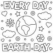 Earth Day. Coloring Page. Vector Illustration Of Planet poster
