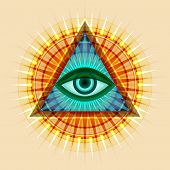 All-seeing Eye Of God (the Eye Of Providence | Eye Of Omniscience | Luminous Delta | Oculus Dei). An poster