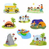 Kids Camp Vector Children Camper Characters And Camping Activity On Summer Vacation Illustration Set poster
