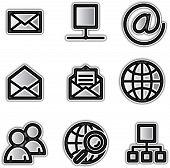 Vector web icons silver contour internet