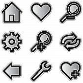 Web icons silver contour tools