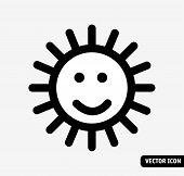 Smile Sun No Fade Symbol Black And White Icon. Monochrome Vector Illustration. Eps8 poster
