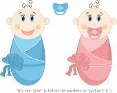 Two happy baby in diapers, vector illustration