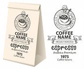 Paper Packaging With A Label For Coffee Beans. Vector Label For Coffee With The Pencil Drawing Cup O poster
