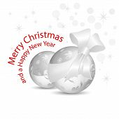 Silver gray Christmas baubles with bow