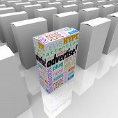 A box with words like Advertise, Marketing, Buzz, Hype, Attention, Publicity and more aims to draw a