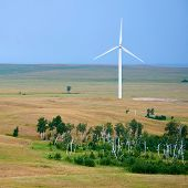Wind Power Stations. Wind Power Is The Use Of Air Flow Through Wind Turbines To Mechanically Power G poster