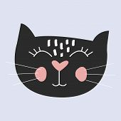 Cute Cat Vector.t-shirt Print.love Cards.valentines Day.animal Print poster