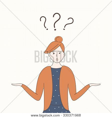 poster of A Cute Girl In Blue Dress Shrugs With Naive Curious Funny Face And Arms Apart. Three Question Marks