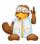 stock photo of platypus  - Illustration of a platypus wearing a lab coat - JPG