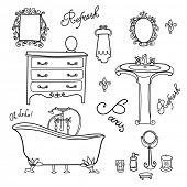 Luxurious Bathroom. Bathroom doodles in vintage, boudoir style