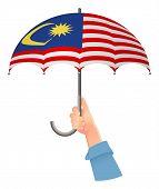 Malaysia Flag. Hand Holding Umbrella. Social Security Concept. National Flag Of Malaysia Vector Illu poster