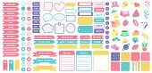 Cute Planner Stickers. Organizer Tags, Color Patterns And Calendar Icons. Check, Planners And Weekly poster