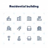 Residential Building Icons. Set Of Line Icons. Key, Residential District, Cityscape. Housing Develop poster
