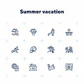 Summer Vacation Icon Set. Line Icons Collection On White Background. Flight, Sightseeing, Destinatio poster