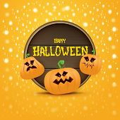 Happy Halloween Web Wooden Board Label With Halloween Scary Pumpkins Isolated On Orange Background . poster