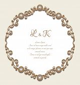 Vintage Gold Frame With Jewellery Borders, Antique Jewelry Card With Diamonds, Elegant Vignette For  poster