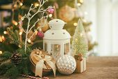 Holiday Christmas Wood Wallpaper With Lantern. Christmas Card Background With Lantern And Festive De poster