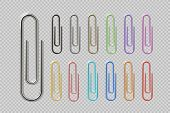 Realistic Colorful Paper Clip Set. Metal Fasteners Notebook Holders. Vector Illustrations Colors Ste poster