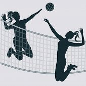 Volleyball - Silhouette Of Two Girls - Hit The Ball In A Jump With His Hand - Vector. Graphic Design poster