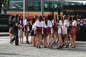 Romanian girls in traditional outfit