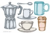 Vector Set Of Hand Drawn Pastel Coffee Cups, Teaspoon, Paper Cup, Espresso Cup, Coffee Pot, Cups Sto poster