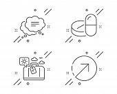 Travel Luggage, Text Message And Medical Drugs Line Icons Set. Direction Sign. Trip Bag, Chat Bubble poster