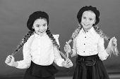 School Friendship. On Same Wave. Schoolgirls Wear Formal School Uniform. Children Beautiful Girls Lo poster