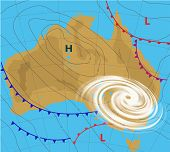 Weather Map Of The Australia. Meteorological Forecast With Hurricane, Wind Cyclone, Storm. Editable  poster