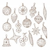 Christmas Balls Sketch Set. Xmas Tree Decorations. Winter Holidays And New Year Vector Hand Drawn Fe poster