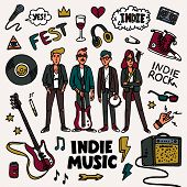 Indie Rock Music Set. Illustration Of Musicians And Related Objects Such As Guitar, Sound Amplifier, poster