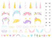 Unicorn Face. Fairy Tale Pony Head Horn Eyes Ear Hairs Birthday Party Unicorn Vector Creation Kit. P poster