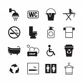 Wc Pictogram. Male And Female Public Toilets Icons Restroom Entrance Symbols Washing Room Vector Pic poster