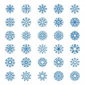 Snowflakes Collection. Christmas Decoration Snow Symbols Logo Design Snowflakes Graphic Vector Eleme poster
